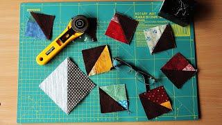"""Лоскутное шитье для начинающих - блок """"Треугольник в полквадрата"""". 4 способа с эскизами. Часть 3."""