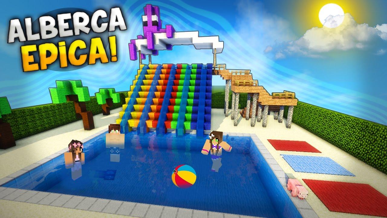 Minecraft como hacer una epica alberca con 5 toboganes for Como construir una piscina en casa