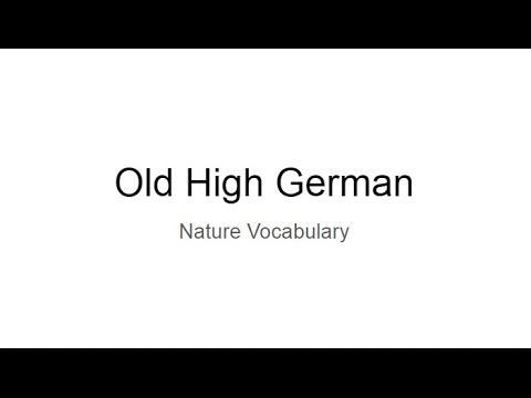 Old High German: Nature Vocabulary
