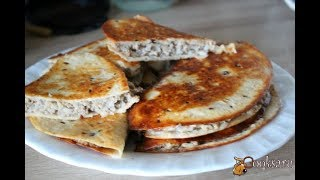 Горячая закуска из тортильи с мясом и рисом