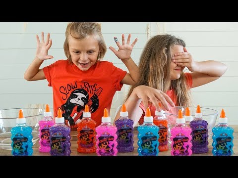 3 COLORS OF GLUE SLIME CHALLENGE!!  Slyfox Family