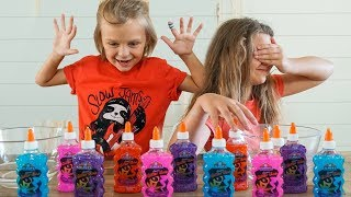 3 colors of glue slime challenge slyfox family