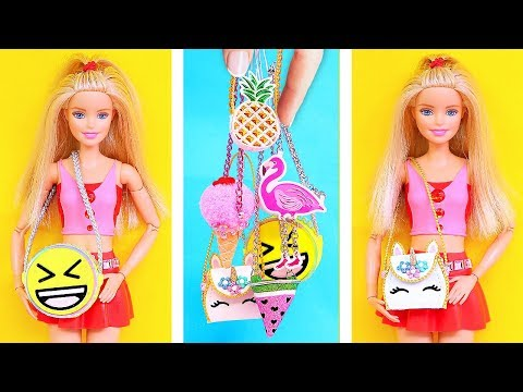 DIY: 6 Barbie Crafts! Miniature Ice Cream, Emoji, Unicorn, Flamingo and more bags REALLY WORKS
