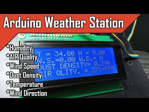 Arduino Weather Station | Wind Speed | Wind Direction | AIR Quality| Dust Density | Temperature