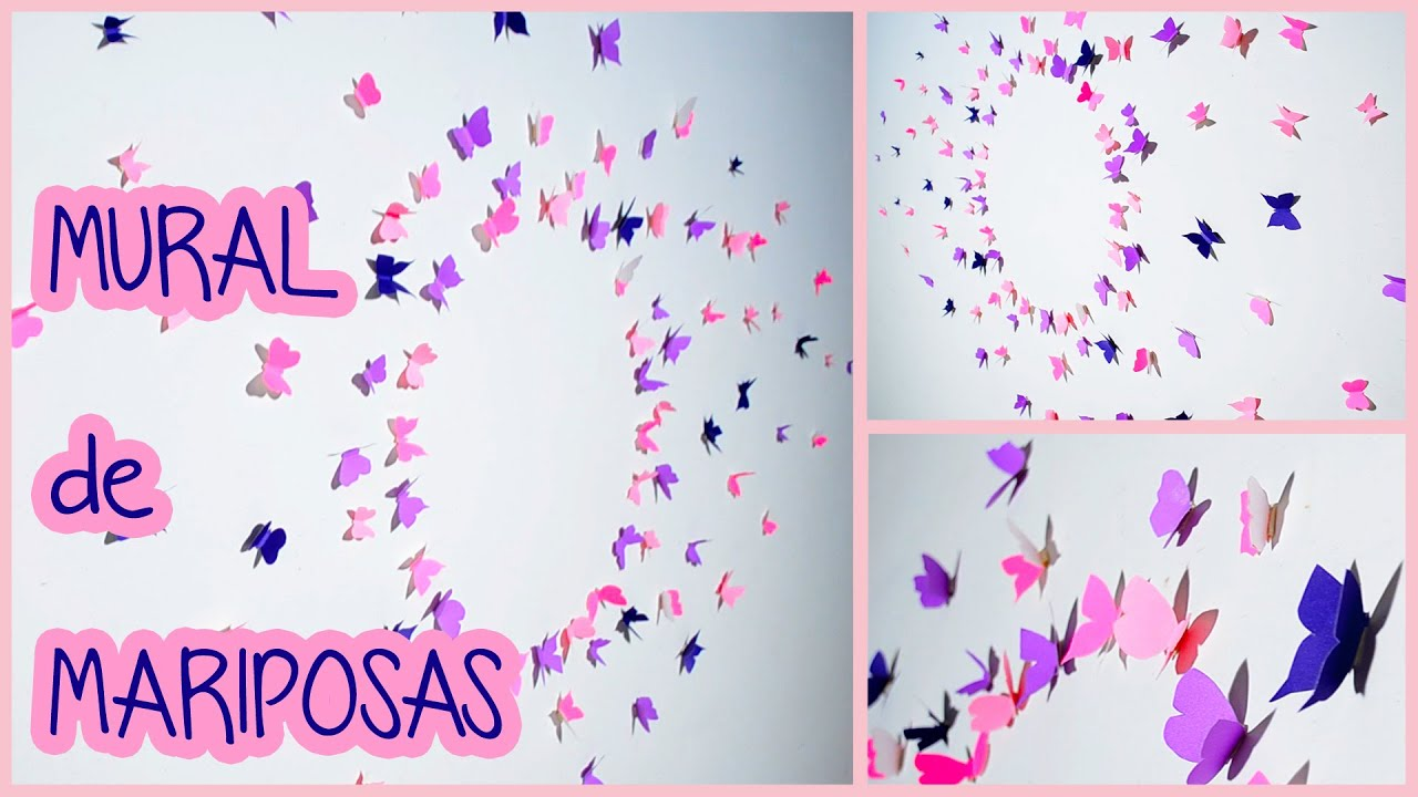 Como hacer un mural de mariposas super f cil youtube for Como decorar un mural