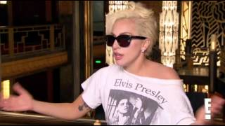 Lady Gaga interviewed by E! News on the AHS set