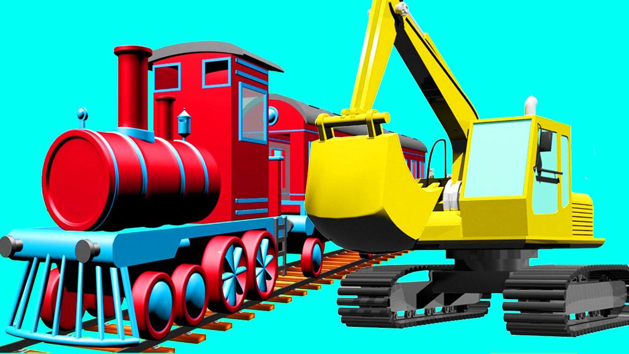 excavator truck dump truck train and crane in truck city
