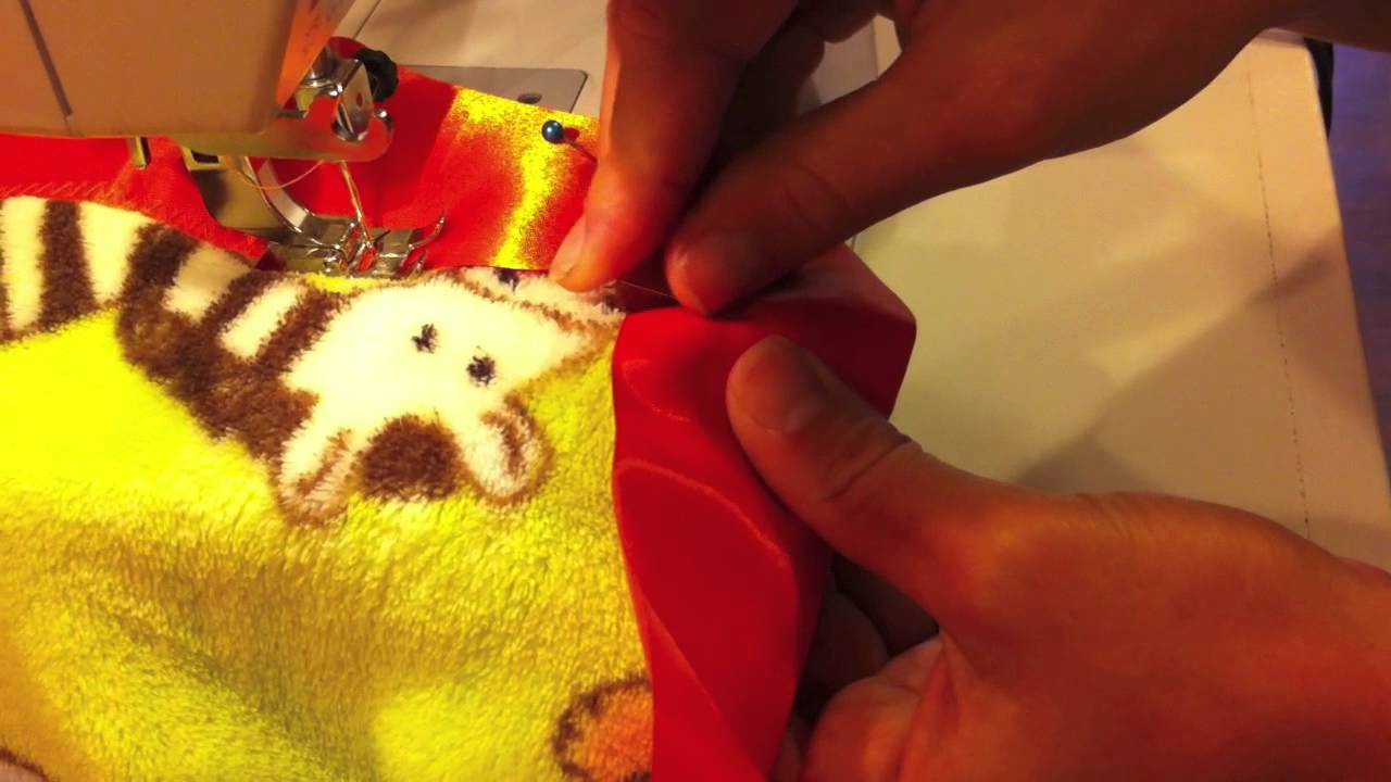 How To Sew Satin Binding On A Blanket Youtube