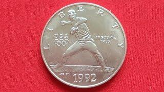 Silver Dollar 1992 OLYMPICS - BASEBALL CША Доллар 1992 Бейсбол
