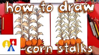 How To Draw Autumn Corn Stalks And Pumpkins