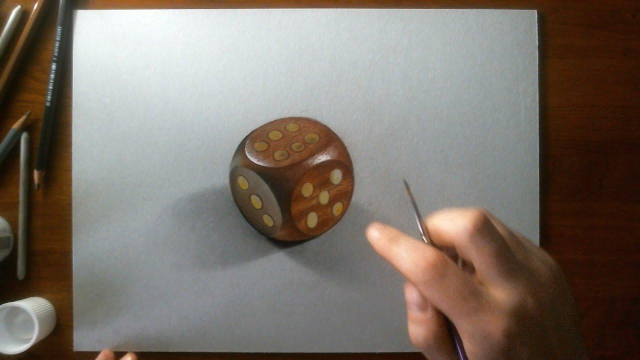 Disegno realistico effetto 3d in time lapse dado di legno for Disegno 3d free