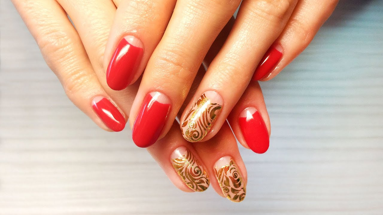 Красный шеллак дизайн ногтей