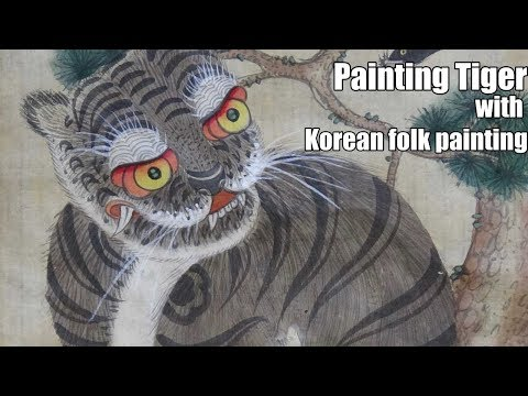 Painting videos – Painting tutorial : Drawing Tiger with folk painting time-lapse [speed painting]