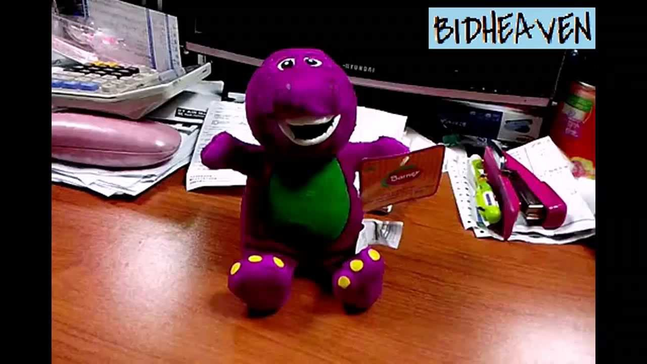 barney dinosaur with music when u press soft plush stuffed teddy