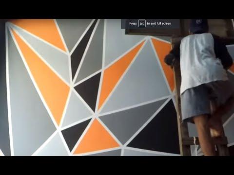 cara mengecat kamar dengan motif geometric