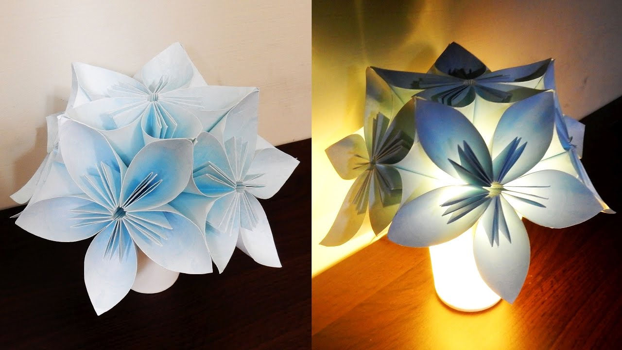Kusudama night light DIY - learn how to make a flower lamp ...