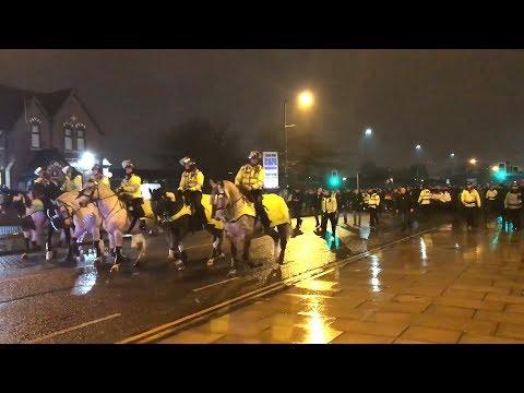 Police March Feyenoord Fans To The Etihad Stadium