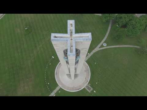 Aerial Views of Carillon Tower in Dayton, Ohio