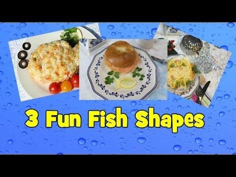 3 Fun Fish Shapes. Fish Shape From Fillet, Lemon Garnish And Foil Plate.