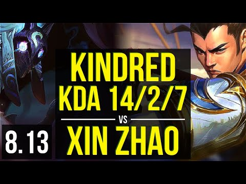KINDRED vs XIN ZHAO (JUNGLE) ~ KDA 14/2/7, Legendary ~ Korea Challenger ~ Patch 8.13
