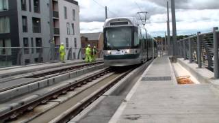 Nottingham Trams  - New Station Stop opening day