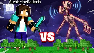 GIANT noob Girl vs SIREN HEAD in Minecraft! (they fight...)
