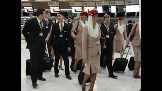 EMIRATES Cabin Crew walking at Suvarnabhumi Airport, Bangkok, Thailand (July, 8 2016)
