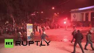 Ukraine:  Kiev Goes Medieval As Protesters Attack With Clubs, Shields
