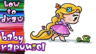 Tangled - How to Draw baby Rapunzel and Pascal - learn to draw - drawing lessons - coloring pages