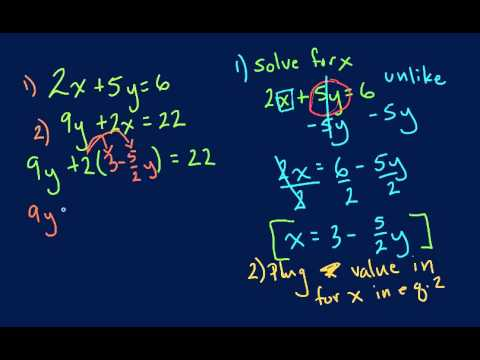 Algebra - Solving Using Substitution Method
