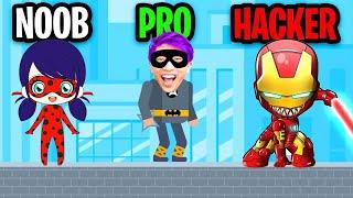 NOOB vs PRO vs HACKER In SUPERHERO LEAGUE! (ALL LEVELS \u0026 ALL HEROES UNLOCKED!)