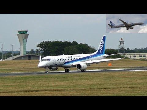 "🇯🇵 The Elegant ANA Mitsubishi Regional Jet MRJ at Farnborough UK ""Practise Display"""