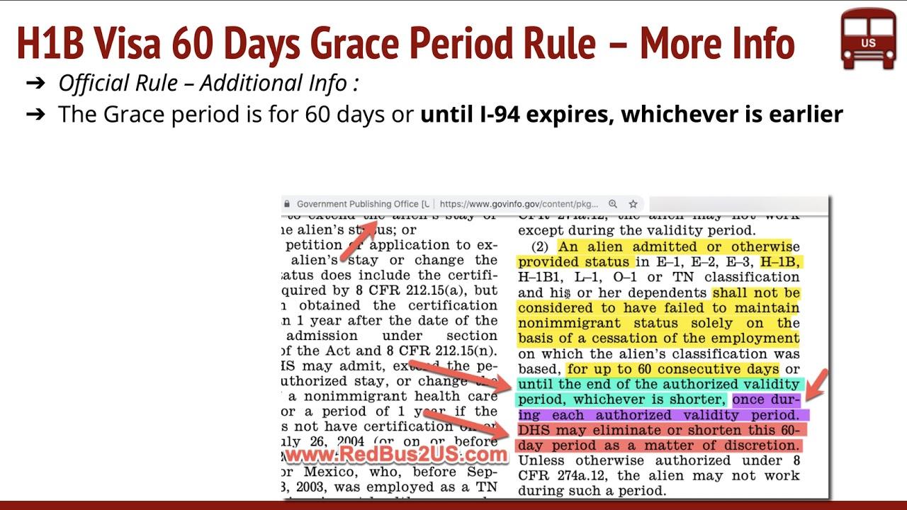 H1B Grace Period 60 Days USCIS Rule – Job Loss, You Quit, H4 EAD, FAQs