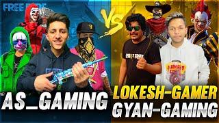 As Gaming Vs Lokesh Gamer \u0026 Gyan Gaming Best Clash Squad Battle 😍 Who Will Win - Garena Free Fire