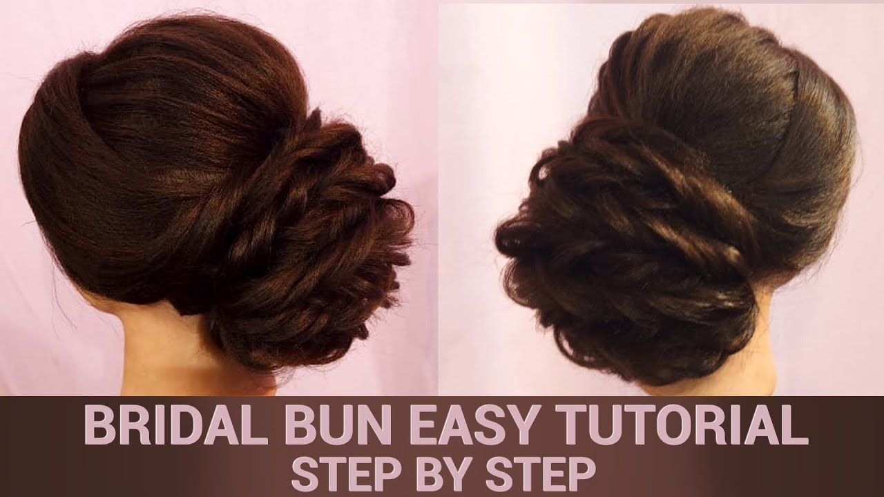 easy bridal bun tutorial   step by step hair updo   indian brides   khoobsurat