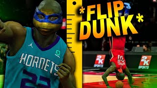 8 FOOT NINJA TURTLE SLAM DUNK CONTEST In NBA 2K20 *CRAZY FRONT FLIP DUNK* | DominusIV