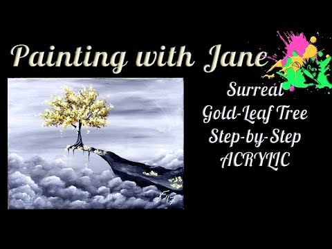 Surreal Gold Leaf Tree Step by Step Acrylic Painting on Canvas for Beginners