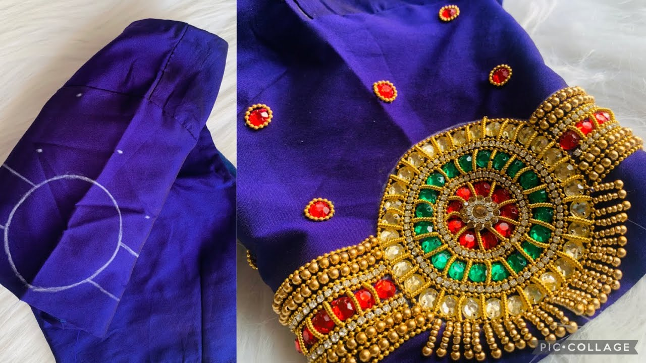 Very Grand & Heavy work bridal vangi blouse design on stitched blouse with normal stitching needle