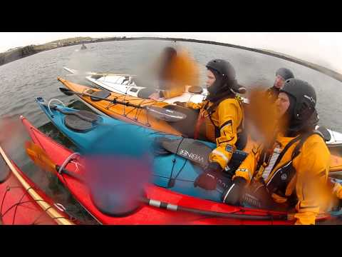Helicopter exercise for sea kayakers in Iceland 2012
