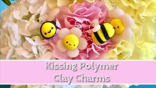 kissing polymer clay bee and flower kawaii charms tutorials