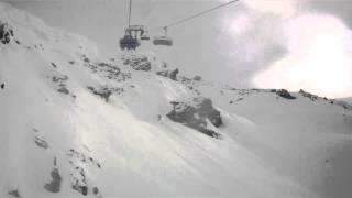 FILE0077 Les Menuires TroisVallees 2013 Chair lift Mont de La Chambre  avalanche prone area near piste Leo Lacroix Thumbnail