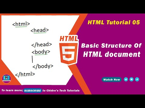 HTML Video Tutorial - 05 -  Structure Of A Typical Html Page
