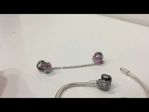 "NinaQueen ""Happy Daisy"" 925 Sterling Silver Stopper Safety Chain Bead Multicolour Charm"