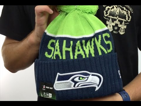 Seahawks  2015 STADIUM  Navy-Lime Knit Beanie Hat by New Era - YouTube 5ab9b513416