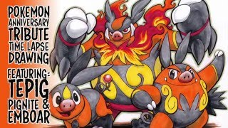 Pokemon Tribute Time Lapse Drawing - Tepig Pignite Emboar
