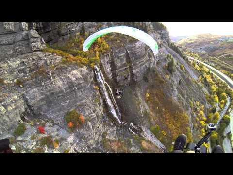 Paramotor Bridal Veil Falls!!! Powered Paragliding Exploration Of Mountains & Canyons Fall Colors!!!