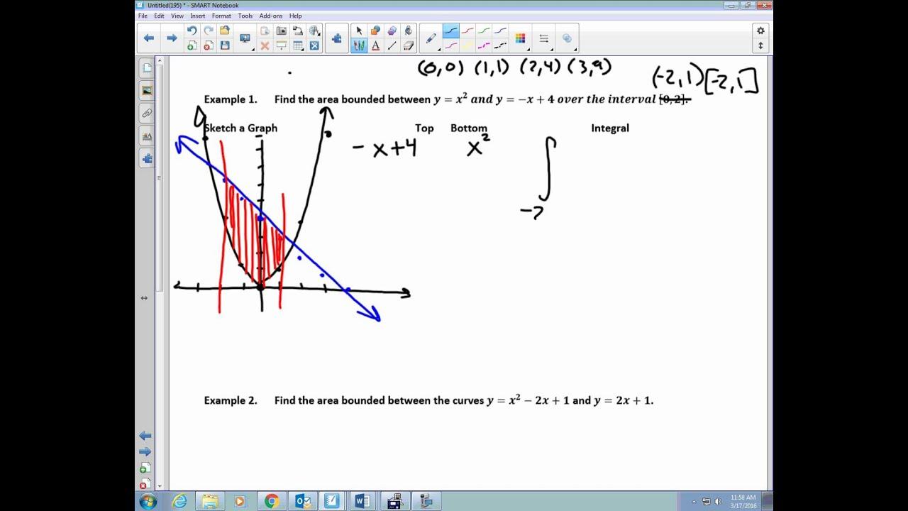 7.5 area between curves ap calculus algebra