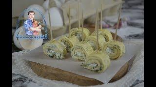 Яичные блинчики(рулетики) рецепт с сыром и чесноком