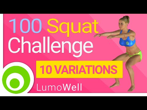 Squat challenge workout. 100 Squats a day to tone legs and lift butt