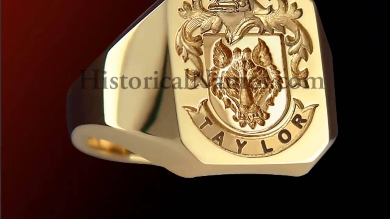 Gold Crest Signet Rings